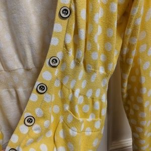 Fossil yellow & white polka dot cardigan sweater M